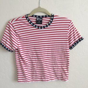T Bar Cotton Stars and Stripes Patriotic Tee S